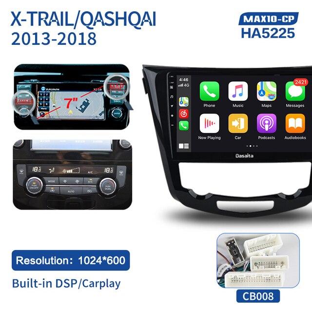 720 Supporto GPS WiFi USB FM//AM 4G//64G Dasaita 10.2 Android 10.0 Autoradio Bluetooth Vivavoce Carplay per Nissan X-Trail Qashqai j11 Rouge 2014-2018 Stereo Auto con Schermo 1280