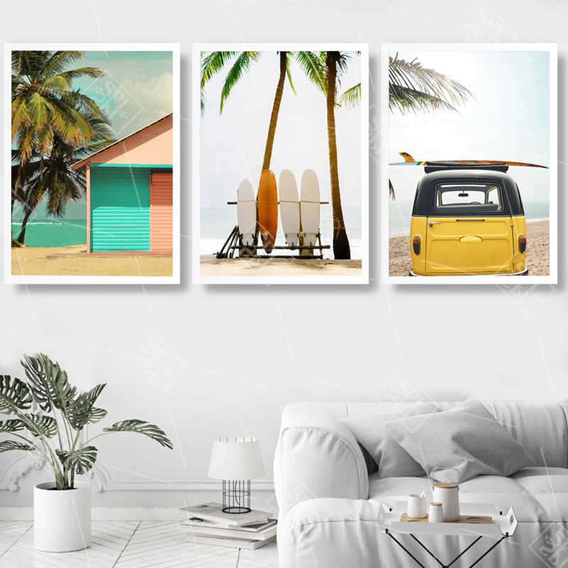 Nordic Surf Canvas Painting Coconut Tree Wall Pictures Travel Bus Landscape Home Decoration Living Room Art Posters and Prints