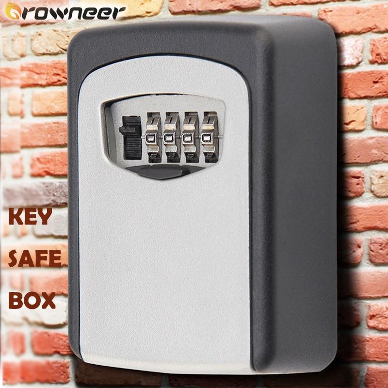Key Safe Box Sturdy Aluminum Alloy Key Lock Box Wall Mounted Securely Storage Weatherproof 4 Digit Combination Rotate Dials