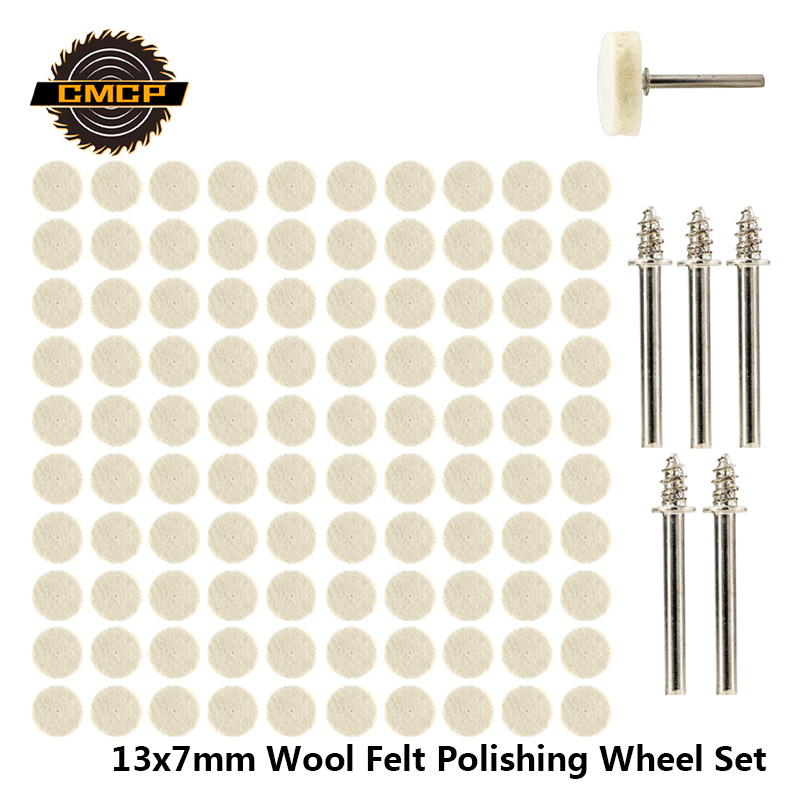 52pcs/105pcs 13x7mm Wool Felt Polishing Wheel Kit For Dremel Rotary Tools With Mandrel Wool Grinding Polishing Wheels