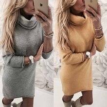 Women Long Sleeve Turtleneck Dress Solid Fleece Sweatshirt Mini Autumn Winter Ladies Bodycon Streetwear