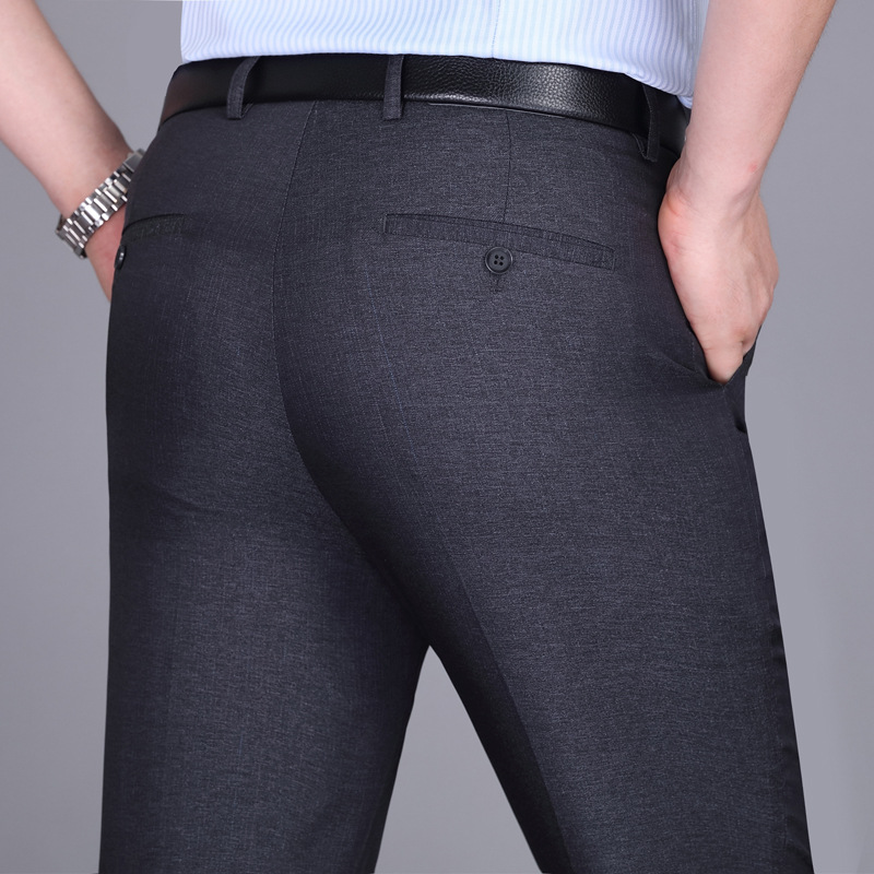 2020 Summer Thin Men Suit Pants Anti-Wrinkle High Waist Loose Business Casual Dress Pants Middle-aged Straight Long Trousers