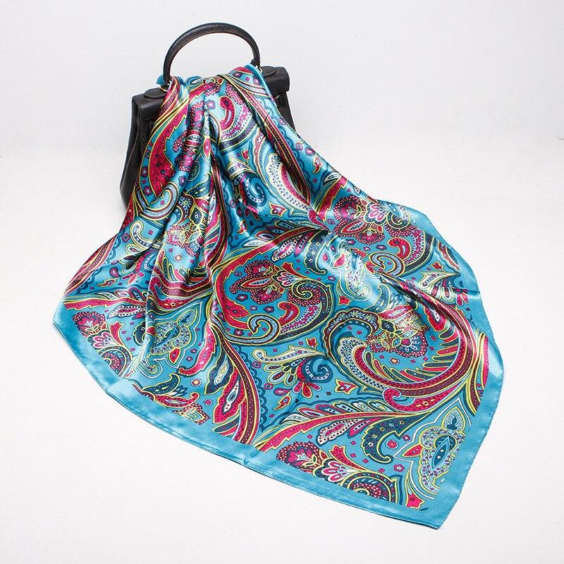 Lithe Novelty Ethnic Style Retro Square Wraps Female Handkerchief Printing Simulation Silk Blue Headband Scarf Women 2020 Spring