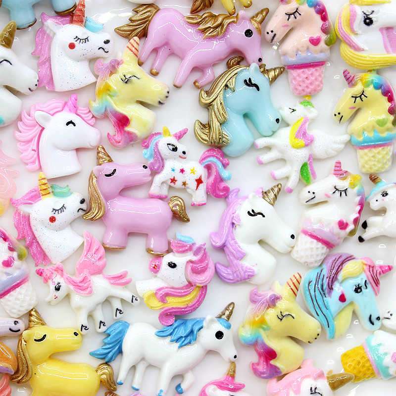 10-50Pcs Cute Unicorn Flatback Planar Resin Color DIY Crafts Supplies Arts Phone Shell Decor Material Hair Accessories Kids Toy(China)