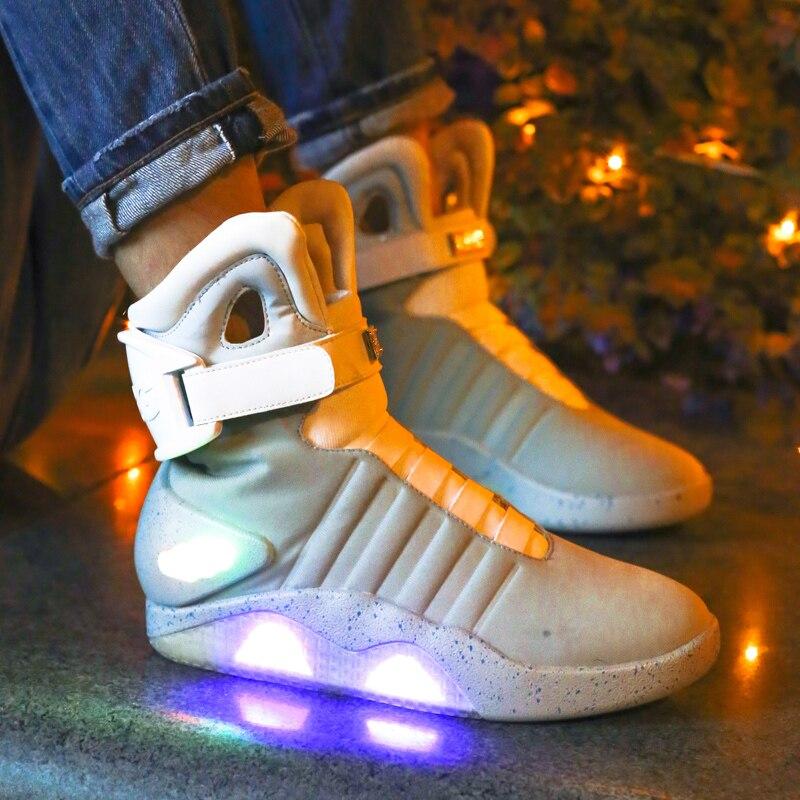 Adultos Sapatos Para Os Homens de Carregamento USB Led Luminoso Luz Moda Up Casual Homens Tênis Brilhantes de volta para o Futuro frete grátis - 6