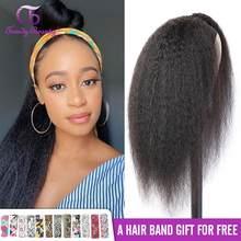 Headband Wig Kinky Straight Wig Human Hair Wigs For Women Scarf Wig No Gel Glueless Remy Brazilian Headband Wigs 180 Density