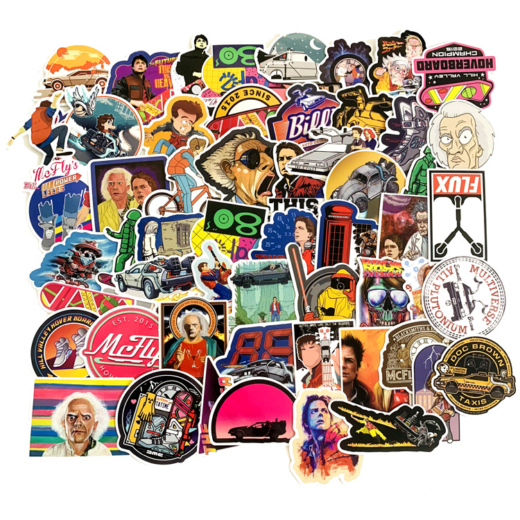 57Pcs Classic Movie Back To The Future Stickers For Luggage Laptop Art Painting DIY Poster Stickers Waterproof Skateboard Toys