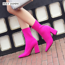 2020 Spring Slim Stretch Ankle Boots for Women Pointed Toe Sock Boots Square High Heel Boots Shoes Woman Fashion Bota Feminina luxury design knitted peep toe boots summer sock ankle women elastic stretch botas high heels pumps ladies dress bota feminina