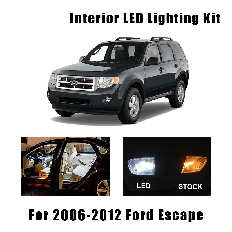 13 Bulbs White Interior LED Car Ceiling Map Light Kit Fit For Ford Escape 2006-2009 2010 2011 2012 Dome Trunk Cargo License Lamp