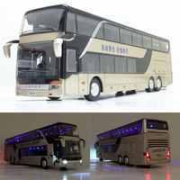 Verkauf Hohe qualität 1:32 legierung ziehen zurück bus modell, hohe nachahmung Doppel sightseeing bus, flash spielzeug fahrzeug, freies verschiffen