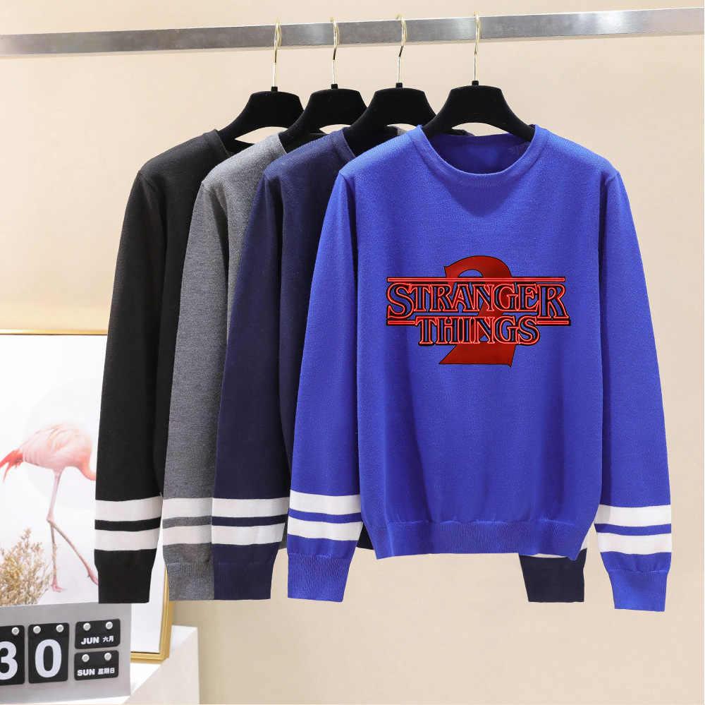 Hal Yang Aneh O-Leher Sweater Pria/Wanita Baru Fashion Rajutan Sweater Cetak Musim Semi Musim Gugur Musim Dingin Hitam Lengan Panjang Sweater Wanita