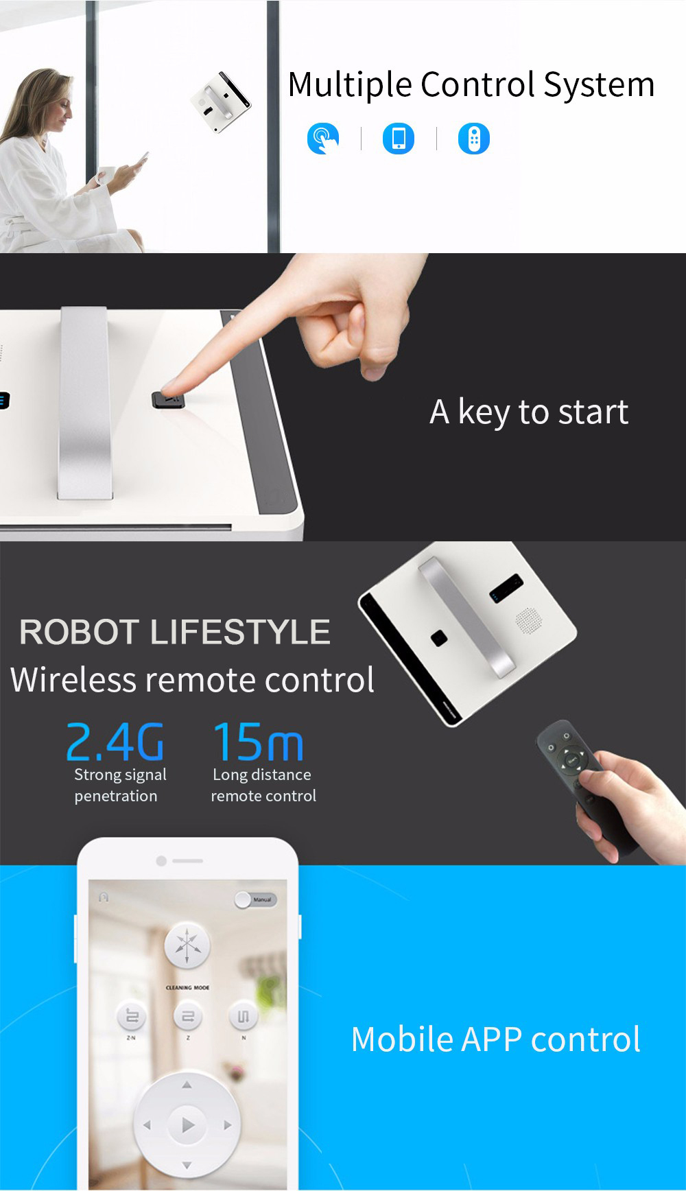 Intelligent Path Planning Robot Window Cleaner with Remote/Mobile App Control 6
