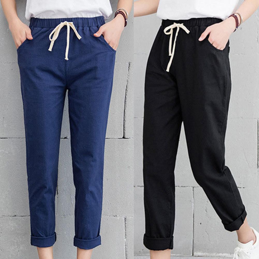 New Women Casual Spring Autumn Big Size Long Trousers Solid Elastic Waist Cotton Linen Pants Ankle Length Solid Color Haren Pant