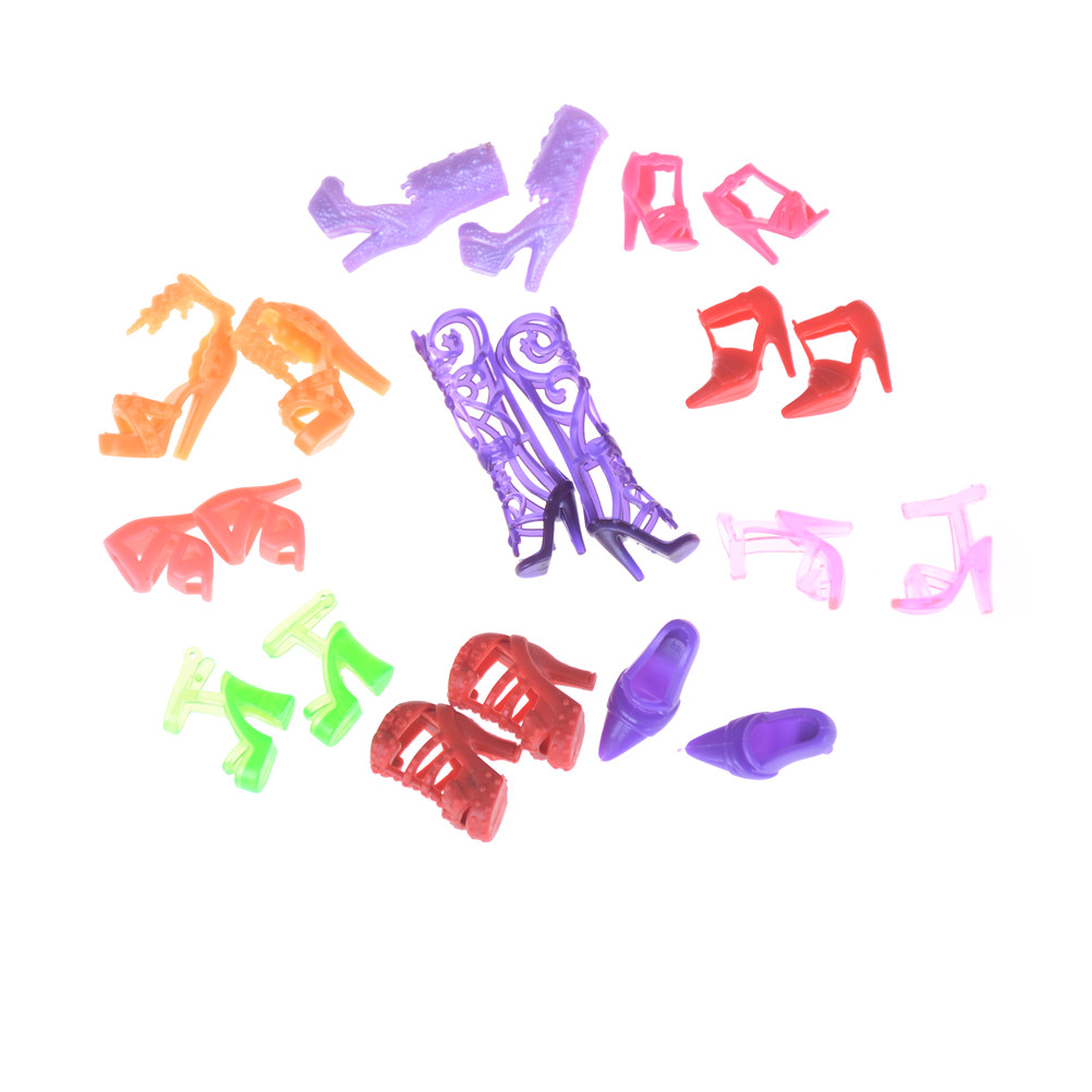 10 Pairs Fashion For  Doll Accessories Clothes Dress Prop Crystal Assorted Fashion Colorful Sandals Copy High Heels Shoes-3