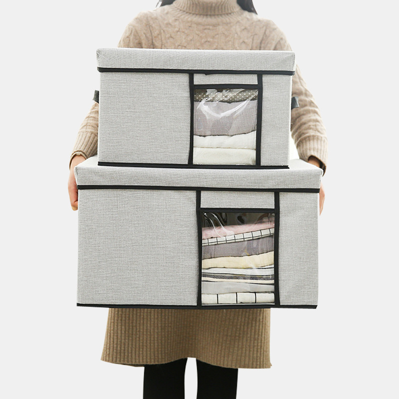 -Washing 2018 Viewing Window Fabric Treasure Chest Household Clothes Storage Large Size Debris Oxford Cloth Finishing Box