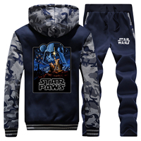 Star Wars Fashion Men Winter Hoodies Sweatshirts Hip Hop Male Coat Zipper Jacket+Pant 2pcs Sets Mens Warm Suit Casual Tracksuit