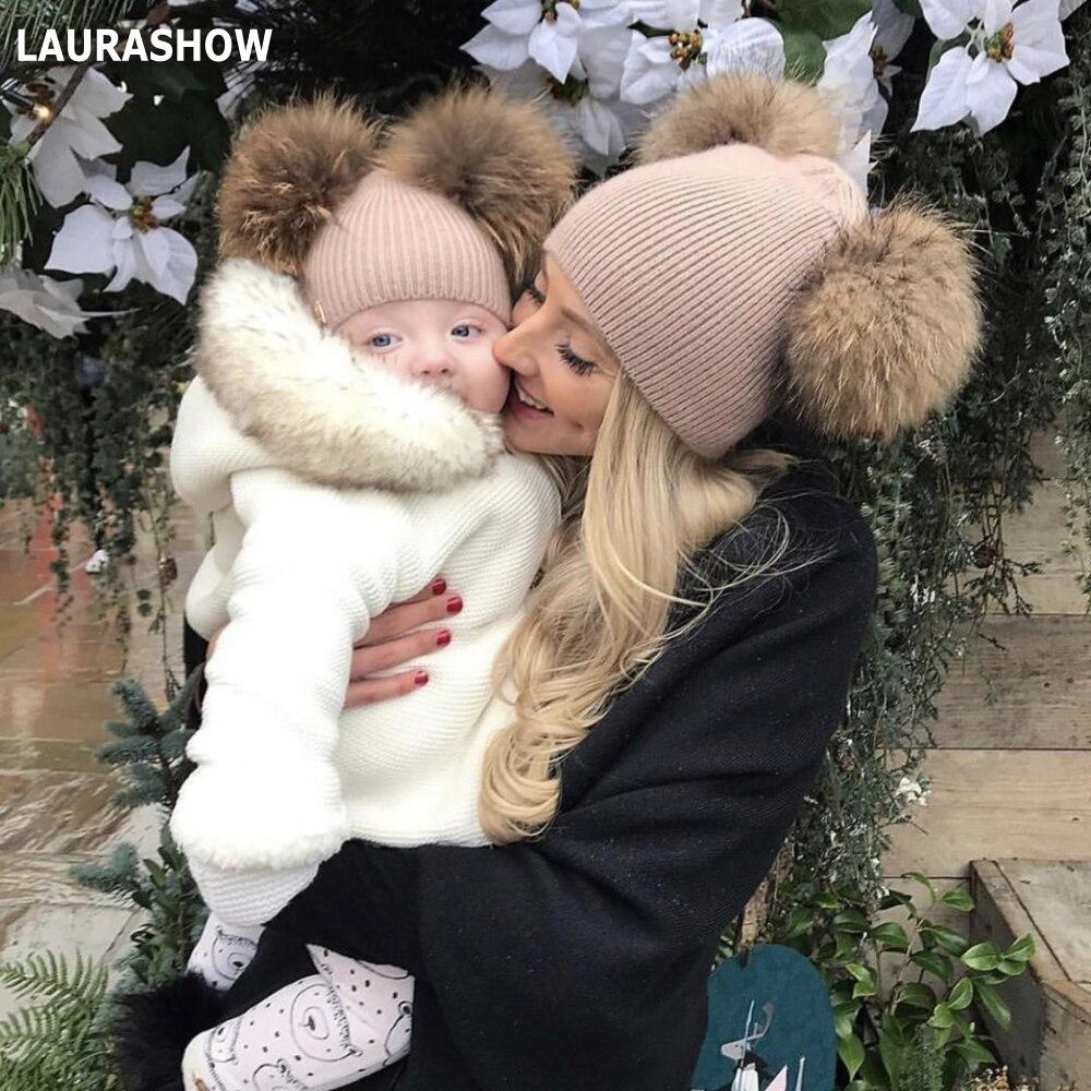 Laurashow 2019 outono inverno bebê gorro 14cm real pele pompons sono quente coelho angora boné de cabelo crianças acessórios chapéu