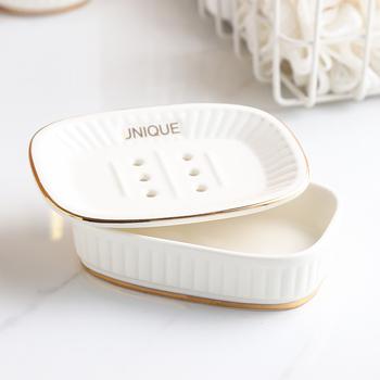 Nordic akcesoria łazienkowe złota wkładka dwuwarstwowa mydelniczka ceramiczna mydelniczka z spustem mydelniczka Porte Savon tanie i dobre opinie CN (pochodzenie) ceramic porcelain 7 5x7 5x17cm 13 2x9 4x3 5cm and 8x8x10cm white China K591 soap dish soap holder soap box bathroom accessories