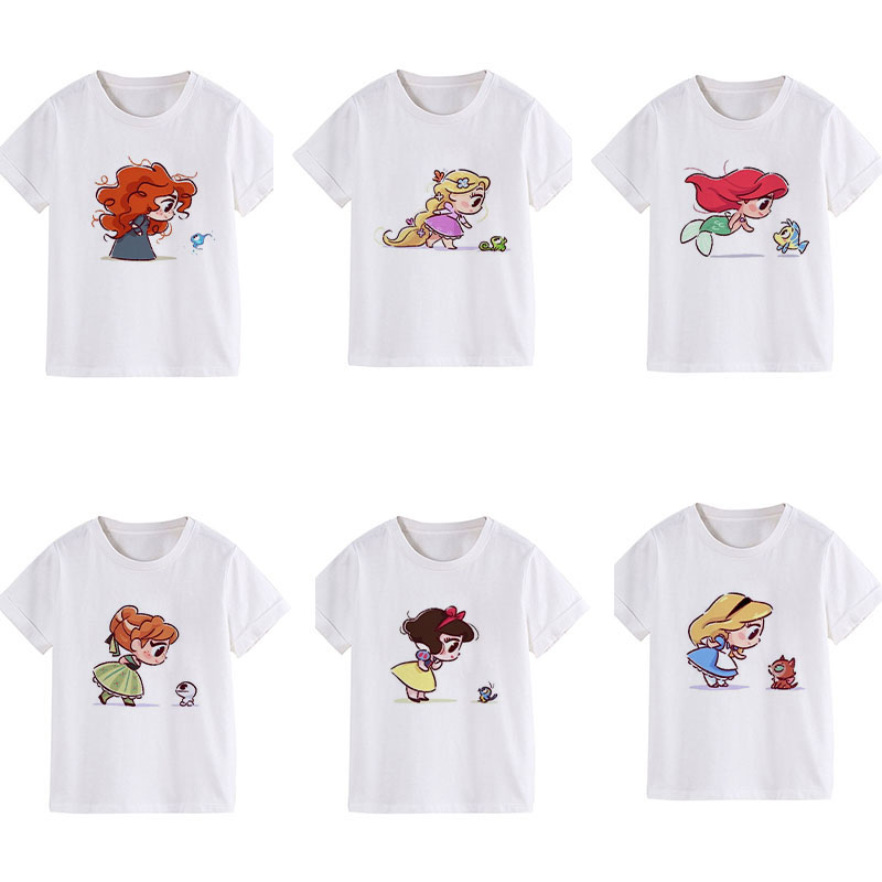 New Shelves Children Clothes Many Little Princess Novelty Kids T-shirt Cute Vogue Girl Tshirt Round Neck Harajuku Casual Unisex