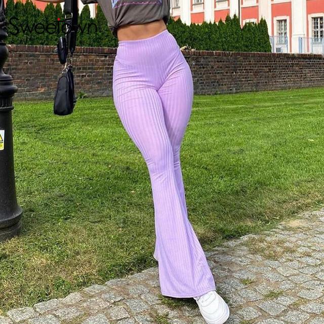 Sweetown Purple Ribbed Joggers Women Knitted Flare Pants Slim High Waist Aesthetic Trousers Female Vintage 90s Sweatpants 1