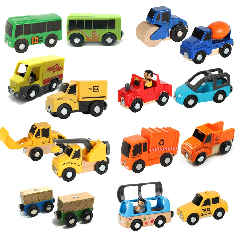 Variety Of Optional Rail Car Utility Vehicles Aircraft Tracks Of Car And Brio Trains Children Car Toy Compatible With Wooden