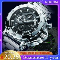 NEKTOM-reloj de cuarzo para hombre, cronógrafo de pulsera, resistente al agua, con correa de acero, militar, deportivo