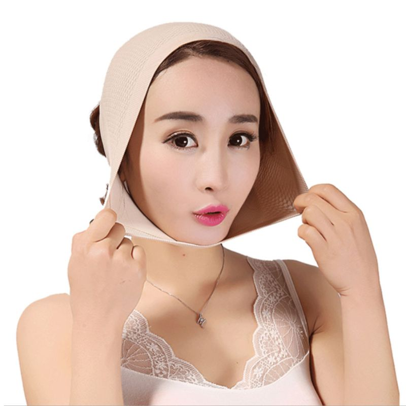 Women Anti-Wrinkle V Face Slimming Bandage Belt Breathable Thread Knitted Facial Mask Head Cover Double Chin Lift Firming Shaper