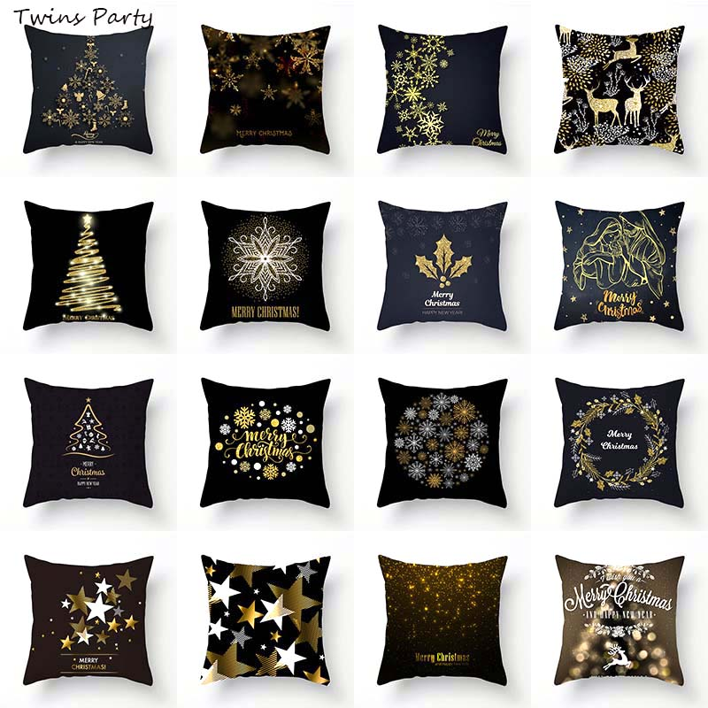 Twins 45*45cm Christmas Cushion Cover Merry Decoration Pillowcases Style Pattern Pillow Case Decor