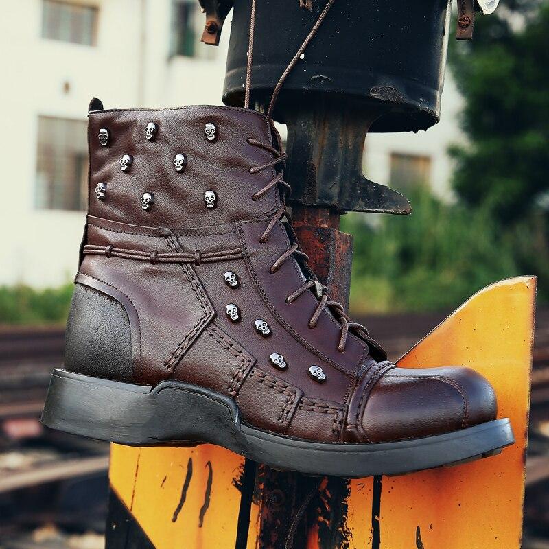 Модные мужские ботильоны «Челси» из натуральной кожи с круглым носком; мужские ковбойские ботинки martin - 6