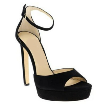 ALMUDENA Runway Fashion Black Suede Platform Sandals Stiletto Heels Open Toe Dress Shoes Covered Heel Women Pumps