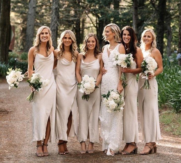 Vestido Madrinha Spaghetti Straps Bridesmaid Dresses 2020 Satin Sheath Small Slit Robe Demoiselle D'Honneur