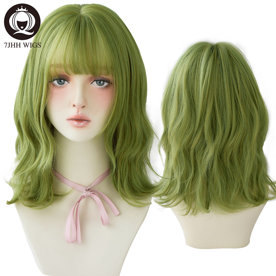 7JHH WIGS Olive Green Deep Wave Wig With Bangs For Women Party Delicate Cosplay Heat Resistant Synthetic Mid-length Female Wig