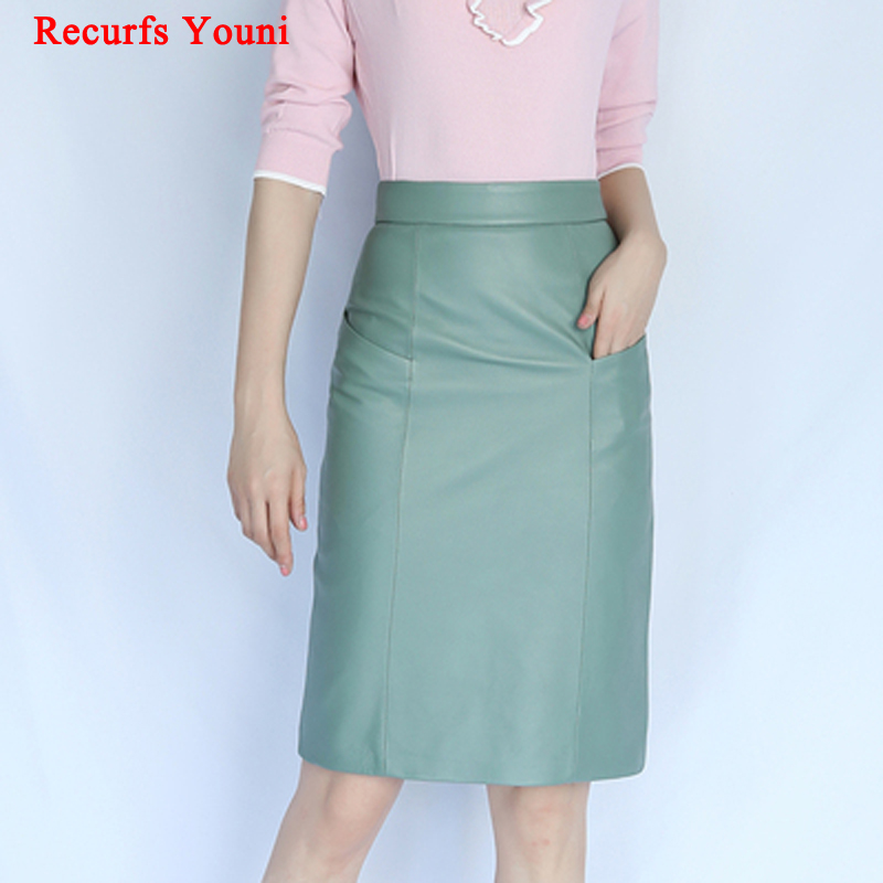 NEW Winter Women Genuine Leather Midi Long Skirt OL Elegant Simple Slim Saia Mujer Green/Black Sexy Wrap Jupe Street Wear Faldas