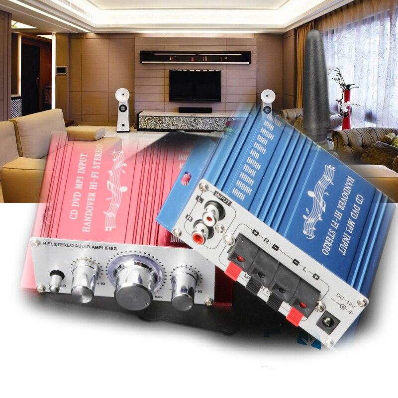 KYYSLB DC12V 20W*2 HY2001 Car Amplifier 2.0 Channel 12.5*10*4.2cm Home Audio Mini HiFi Amplifier 75DB 20-20KHZ Red Blue Class AB