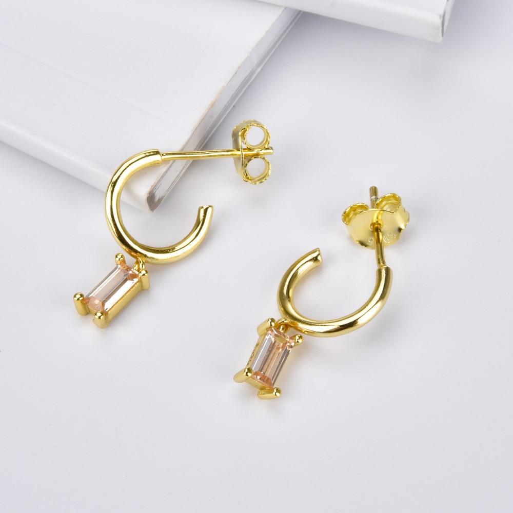 Kikichicc 925 Sterling Silver Multi Green Gold Circle Earring Small Open Hoops Mini Dangle Charm Crystal Earring Jewelry