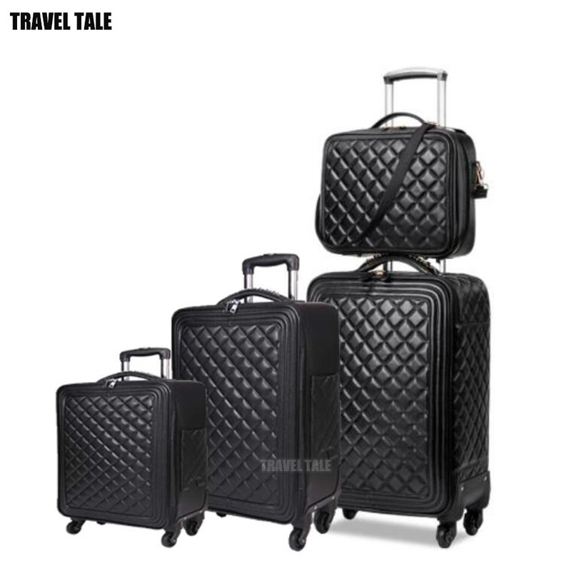 Rolling-Luggage-Set Travel-Suitcase Carry-On Vintage Luxury Brands 24inch Famous Pu 16-20-