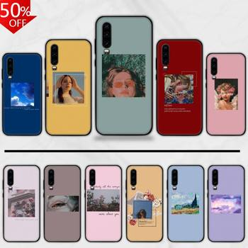 Pink Aesthetics Songs Lyrics Aesthetic Phone Case For Huawei Honor Mate P 9 10 20 30 40 Pro 10i 7 8 A X Lite Nova 5t image