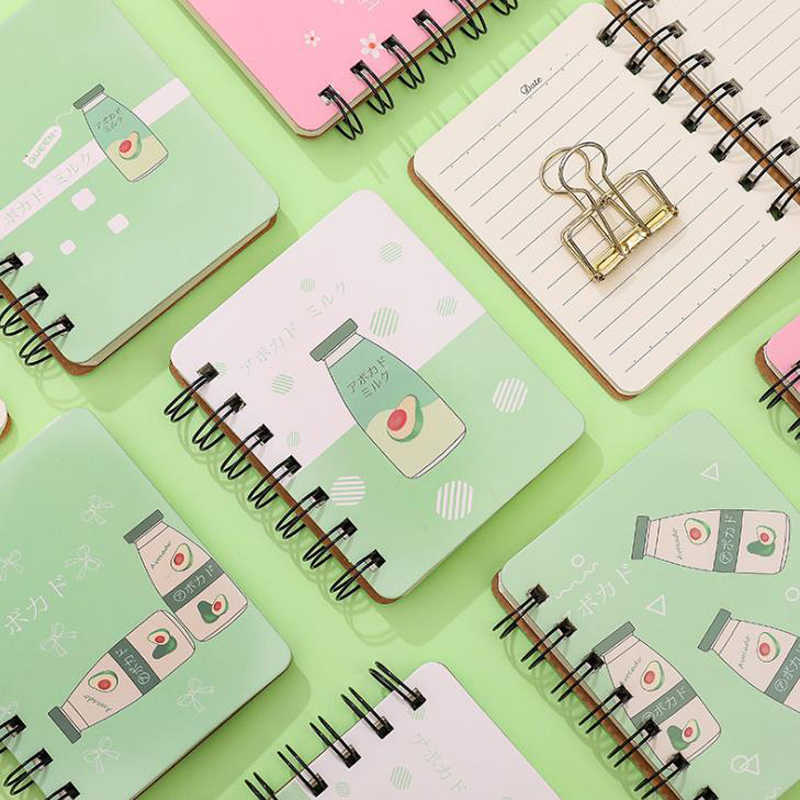 1 Pcs Cute Mini Fruit Avocado Peach Milk Bottle Pocket Portable Spiral Notebooks Notepad Diary Planner School Office Stationery