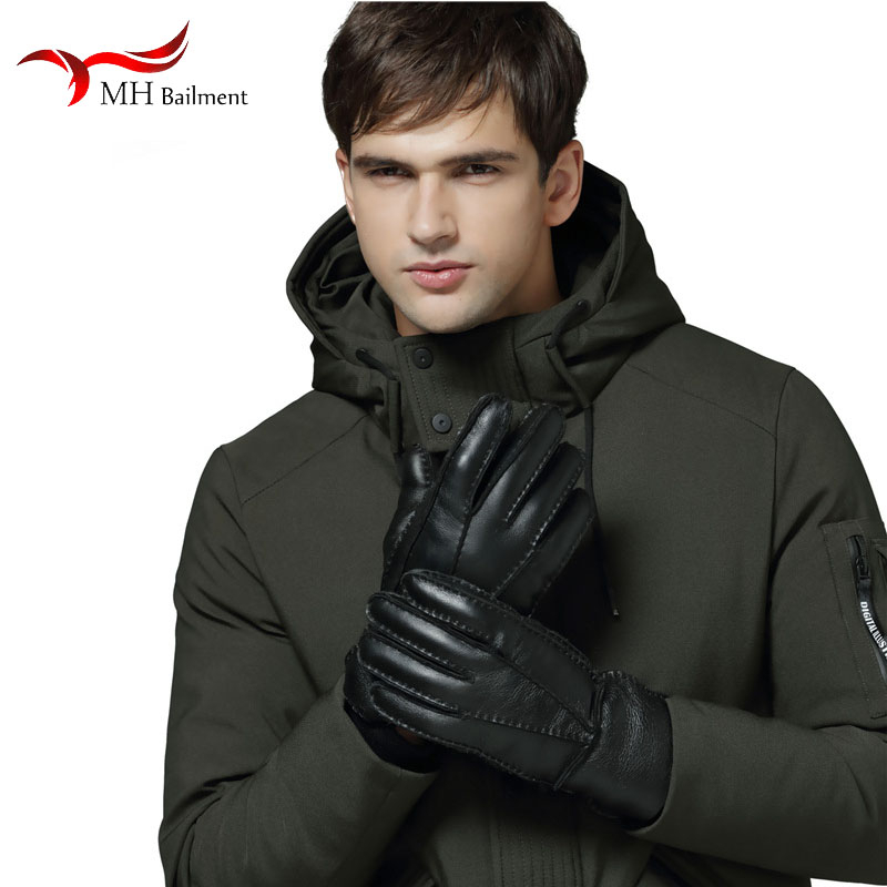 Winter New Men's Sheepskin Fur One Gloves Fashion Comfortable Warm 100% Luxury Leather Gloves Out Thickening Gloves
