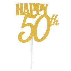 WSFS хит, 1 шт, золотой счастливый 50-й Топ, блестящий силуэт, свадебный торт, топ на свадьбу/День рождения/вечерние украшения для торта