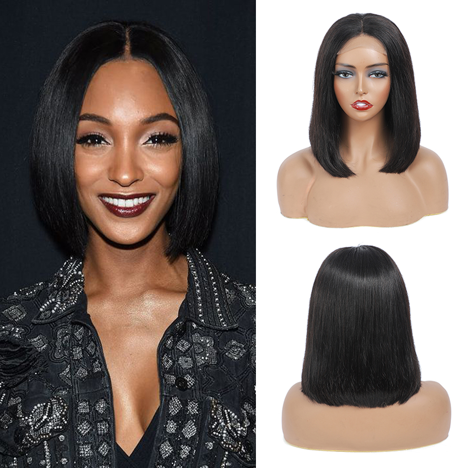 Closure Wig 4x4 Lace Bob Wig Straight Wave  180% Density  Virgin  wigs 12 inches Natural Color Wig 1