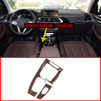 2pcs Pine Wood Grain ABS Car Gear Shift Frame Panel Trim For BMW X3 X4 G01 G02 2018-2019 Accessories Left Hand Drive