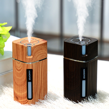 Portable Mini Humidifier Wood Grain 300ML Ultrasonic Car USB Aroma Air Diffuser Color LED Lamp Humidificador For Car Home Office