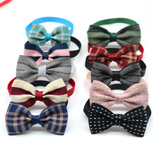 50PCS Pet Cat Dog Bow Tie Winter Pet Supplies Dog Accessories Small Dog Bowtie Collar Plaid Style Small Dog Grooming Products