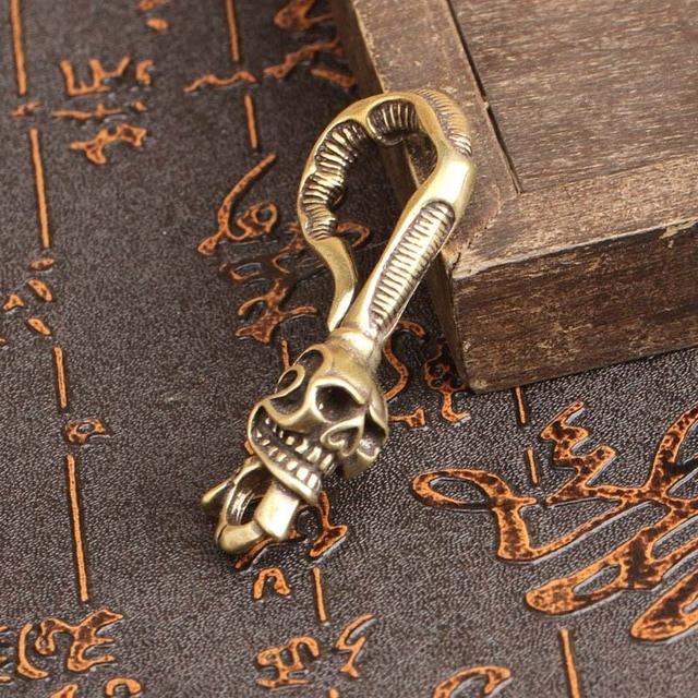 Copper Dragon Head Keychain Antique Craft Key Chains Lobster Clasps Keyring Waist Buckle Brass Metal Vintage Car Key Holder Gift 4