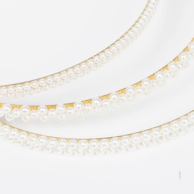 1Pcs New Double Rhinestone Pearl Hair Accessories Headband Exquisite Crystal Headband Shiny Metal
