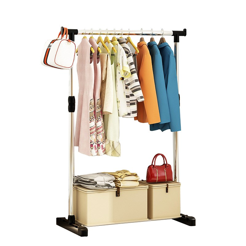 Single Pole Folding Metal Coat Rack Clothes Hanging Garment Dress Drying Rack With Wheels Living Room Furniture Coat Rack