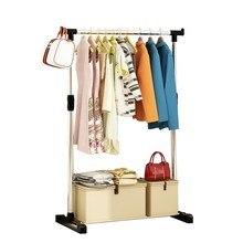 Único pólo de metal dobrável cabide rack roupas vestuário pendurado vestido secagem rack com rodas sala estar mobiliário cabide rack