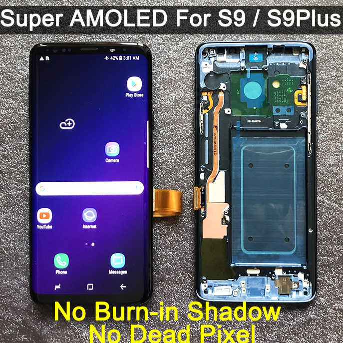 ORIGINAL AMOLED สำหรับ SAMSUNG Galaxy S9 S9 + จอแสดงผล LCD Touch Screen Digitizer กรอบ G960 G965 S9 PLUS LCD