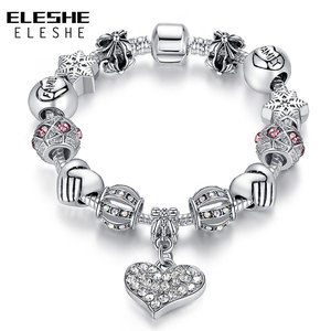 ELESHE Luxury Brand Women Bracelet Silver Color Crystal Charm Bracelet for Women DIY Beads Bracelets & Bangles Jewelry Gift